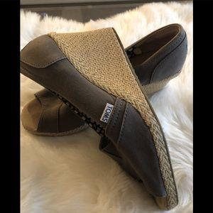 TOMS grayish beige wedge sandals, size 10 w